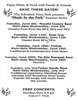 Schedule for Music in the Park